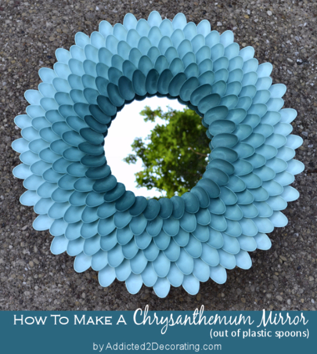 Cool Turquoise Room Decor Ideas - Decorative Chrysanthemum Mirror - Fun Aqua Decorating Looks and Color for Teen Bedroom, Bathroom, Accent Walls and Home Decor - Fun Crafts and Wall Art for Your Room http://stage.diyprojectsforteens.com/turquoise-room-decor-ideas